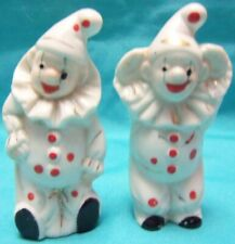 Pair of Vintage Art Pottery Clown Figurines Thin Shadowbox Shape from Japan