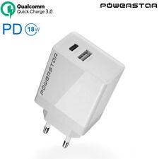 Caricabatteria parete USB-C PD 18W+USB-A QC 3.0 per smartphone e tablet JR4