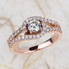 1.00ctw Round Cut Diamond Pave Set Engagement Ring in 14K Rose Gold