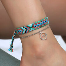 FX- Womem Handmade Wave Woven Braided RopeBracelet Anklet Barefoot Beach Jewelry