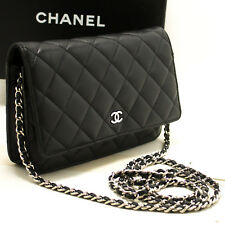 N82 Chanel Cartera Negra en Collar Woc Bolsa de Hombro Cruzado Cierre