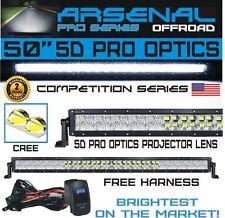 "No.1 5D 50"" Pro Optics Arsenal Offroad LED Light Bar New 2018 Design Flood/Spot"