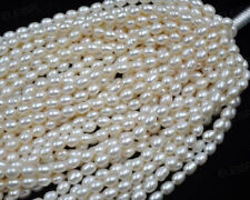 Wholesale   5-6mm rice cultured white pearl beads