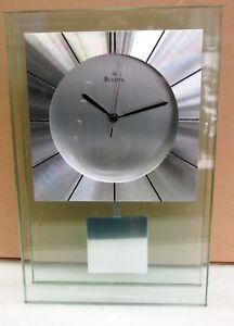 "BULOVA MANTEL CLOCK - MINERAL GLASS CASE WITH ALUMINUM ACCENTS ""INSIGHT"" B2840"