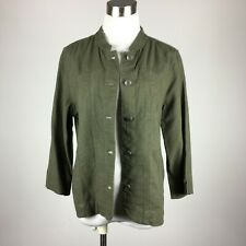 Christopher & Banks M Medium Blazer Jacket Casual  Green Linen Rayon Unlined