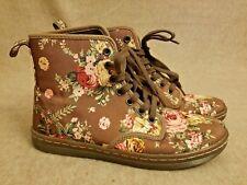 New Dr. Martens Shoreditch Women Textile Floral Brown Lace Up Ankle Boots Size 7