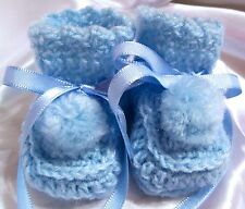 HANDMADE CROCHET BABY REBORN DOLLS BOTIES SHOES BLUE PREEMIE NEWBORN