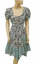140420 New Joe Browns Floral Printed Lace Smocked Cotton Tunic Dress L US 12