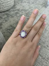 Opal And Purple Topaz Gold Ring Size 7.5 Plated