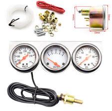 2'' 52mm 12V Water Temp Voltage Oil Pressure Triple Car 3 in 1 Gauge Meters Kit