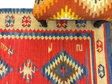 RED BLUE Tribal Nomadic Caucasian Geometric Handmade 100% Wool Kilim Rugs Runner