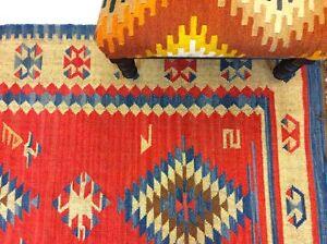 RED BLUE Tribal Nomadic Caucasian Geometric Handmade 100% Wool Kilim Rugs Runner