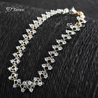 18K YELLOW WHITE GOLD FILLED CLEAR CRYSTAL CATERPILLARS CHAIN BRACELET 19CM