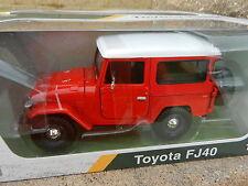 1:24 MOTOR MAX *RED & WHITE* Toyota FJ40 Land Cruiser *DIECAST* NIB!
