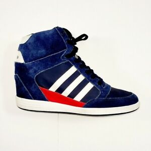 Adidas Women's Size 10 Neo Wedge Suede Blue with white and Red Sneakers