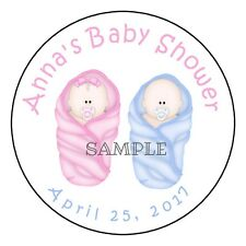 """ADORABLE TWINS BABY SHOWER Personalized 2.5"""" Round Labels Favor Sticker Loot Bag"""