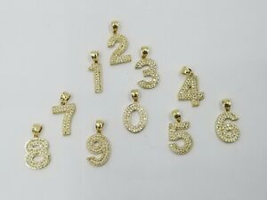 10k Real Yellow Gold Number Charm Pendant Men Women Diamond Cut 0-9 Numbers