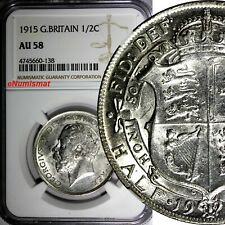 Great Britain George V Silver 1915 1/2 Crown NGC AU58 WWI Issue  KM# 818.1