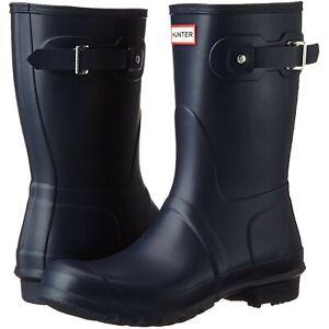 Hunter Women's Navy Blue Matte Original Short Rain Boots Rubber Mud Snow Size 9