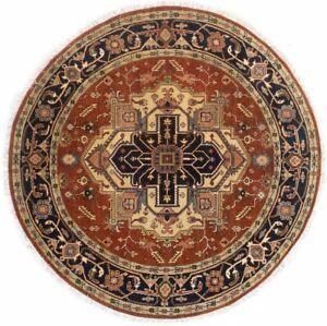 Rust Geometric Tribal Round 8X8 Heriz Serapi Handmade Wool Oriental Rug Carpet