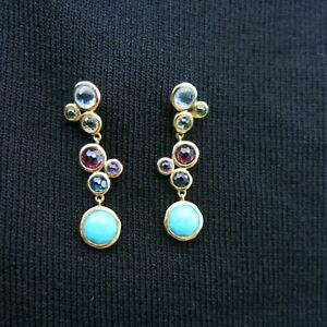 Ippolita earrings Lollitini 18K yellow gold linear multi blue stones purple