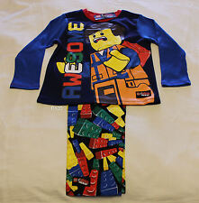 Lego Movie Boys Emmet Awesome Blue Printed Cotton Flannel Pyjama Set Size 7 New