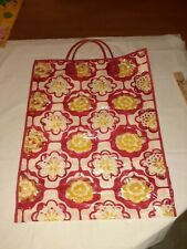 Vtg 60s 70s Clear Vinyl Tote Bag Shopping Red Yellow Flowers Plastic *MUSTY*