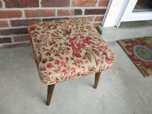 Vintage Mid Century Modern MCM Footstool Ottoman Fabric Covered As Is Shabby