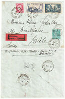 1939 France Expess Mail Cover from Marseille to Basel Switzerland Espresso