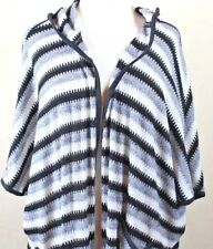 Two by Vince Camuto Open Front Long Cardigan Hoodie S/M Black Gray Split Hem