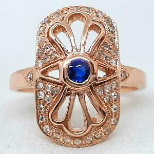 Antique Genuine .50ctw Blue Sapphire & H-SI Old Cut Diamond 14K Rose Gold Ring