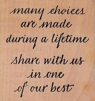 """many choices quote wordsworth Wood Mounted Rubber Stamp 3 x 3""""  Free Shipping"""