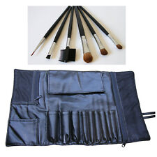 Cosmetic Travel Black Faux Leather Makeup Bag Case Roll W/ 6Pcs Eye Brow Brushes