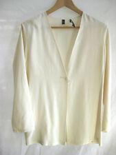 Nitya Size 36 (Aus 10 12) Cream Open - Front Silk Blazer - super stylish