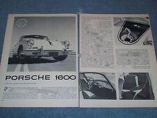 1962 Porsche 1600 Vintage Road Test Info Article