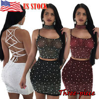Women 2 Piece Bodycon Two Piece Crop Top+Skirt Set Lace Dress Party Clubwear USA