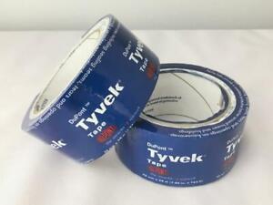 "= (2) Dupont Tyvek Housewrap Tape Rolls 1.88""x164' Strong Waterproof High-Tack"