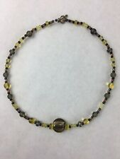 Glass and Resin Yellow Brown and Black Beaded Handmade Necklace 10""