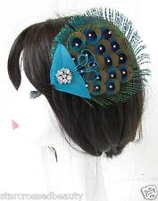 Real Peacock Feather Silver Fascinator Hair Clip Diamante Blue Vintage 1920s R60
