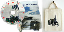 DIY CD Clock KITof a Steam Traction Engine in small canvas gift bag with Motif