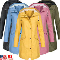 Womens Long Sleeve Wind Coat Outerwear Hooded Long Jacket Windbreaker Raincoat