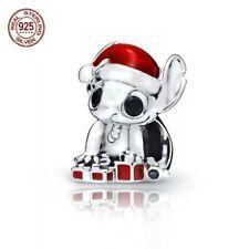 Charm en plata de ley Stitch en Navidad , s925