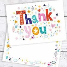 Thank You Cards - Funky Text A6 Postcard Style - Includes Envelopes (Pack 10)