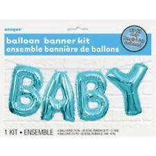 """Baby Shower Party Blue Foil Letters Air fill Hanging Banner Boy Balloons 14"""""""
