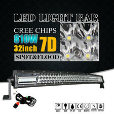 "7D+ 32"" 810W CURVED TRI-ROW LED LIGHT BAR SPOT FLOOD COMBO OFFROAD DRIVING CREE"