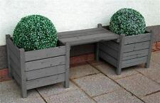Blumenbank Bodensee / 2 Pflanzkübel mit Sitzbank 160x50x45cm grau