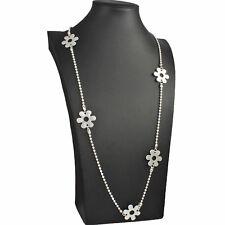 Flor encantadora Bisutería Tono Plata Collar de Abalorios de larga duración de bola de sello