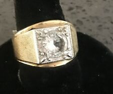Solitaire Style Band Vintage Sz 9 New listing Men'S 14Kt H.G.E. Cubic Zirconia Ring
