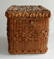 Large Showy Northeast Vintage Indian Basket Ash Curls With Lid