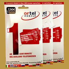 7,50€ Ortelmobile Prepaid ePlus Sim Karte w. Blauworld Blau O2 Base Fachhändler